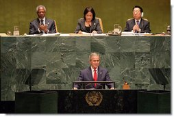 """President George W. Bush addresses the United Nations General Assembly in New York City Tuesday, Sept. 19, 2006. """"Five years ago, Afghanistan was ruled by the brutal Taliban regime, and its seat in this body was contested. Now this seat is held by the freely elected government of Afghanistan, which is represented today by President Karzai,"""" said President Bush. White House photo by Shealah Craighead"""