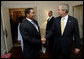 President George W. Bush welcomes President Jakaya Kikwete of the United Republic of Tanzania, for their bilateral meeting Monday, Sept. 18, 2006, at the Waldorf-Astoria Hotel in New York City. White House photo by Eric Draper