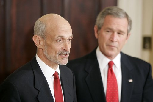 President George W. Bush presents Judge Michael Chertoff as his nominee to be the Secretary of Homeland Security in the Roosevelt Room Tuesday, Jan. 11, 2005. White House photo by Paul Morse.