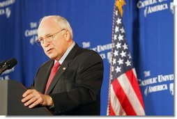 """Vice President Dick Cheney discusses Social Security at the Catholic University of America in Washington, D.C., Thursday, Jan. 13, 2005. """"The President knows that the longer we wait to address the coming crisis, the more excuses that are made for inaction, the more difficult and expensive the job will be down the line,"""" said the Vice President. """"So in this new term, under his leadership, we will save Social Security, and put it on a path to permanent solvency and stability.""""  White House photo by Susan Sterner"""