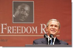 """President George W. Bush gives remarks at Georgetown University's """"Let Freedom Ring"""" celebration honoring Dr. Martin Luther King, Jr. at the Kennedy Center for the Performing Arts on Monday, January 17, 2005.  White House photo by Paul Morse"""