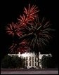 Fireworks explode over the White House, the grand finale for 'A Celebration of Freedom' inaugural concert held on the Ellipse in Washington, D.C., Jan. 19, 2005. White House photo by Susan Sterner