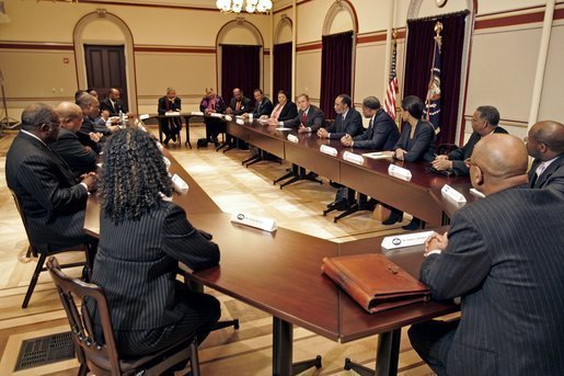 President George W. Bush meets with African-American religious, business, and community leaders in the Dwight D. Eisenhower Executive Office Building Tuesday, Jan. 25, 2005. White House photo by Paul Morse.