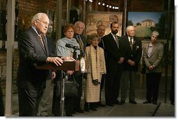 Vice President Dick Cheney addresses holocaust survivors and their family members during a reception at the Galicia Jewish Museum in Krakow, Poland, Wednesday, Jan. 26, 2005. Vice President Cheney leads a U.S. delegation to Poland to commemorate the 60th Anniversary of the Liberation of the Auschwitz-Birkenau Concentration Camp.  White House photo by David Bohrer