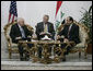 """Vice President Dick Cheney meets with Iraqi Prime Minister Nouri al-Maliki Monday, March 17, 2008 at the Prime Minister's residence in Baghdad. In remarks following their meeting, the Vice President said, """"I was last in Baghdad 10 months ago, and I can sense as a result of the progress that's been made since then that there have been some phenomenal changes, in terms of the overall situation, both with respect of the security situation, where Iraqi and American forces have done some very good work, as well as with respect to political developments here in Iraq."""" White House photo by David Bohrer"""