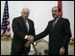 """Vice President Dick Cheney shakes hands with Iraqi Prime Minister Nouri al-Maliki following their meeting Monday, March 17, 2008 at the Prime Minister's residence in Baghdad. """"I found the Vice President a man who understands very well and is very keen about Iraq's success,"""" said Prime Minister Maliki, adding, """"I believe these visits really cement and support the relationship between the two countries, the success that we achieve in Iraq against terrorism, and in the war against terrorism."""" White House photo by David Bohrer"""