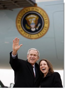 President George W. Bush waves to the family members and friends of Lydia Humenycky, a USA Freedom Corps Service recognition recipient honored by President Bush for her volunteer service, Thursday, March 27, 2008, on arrival at the Pittsburgh International Airport. White House photo by Eric Draper