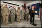 """Vice President Dick Cheney addresses U.S. troops Thursday, March 20, 2008, during a dinner at Bagram Air Base, Afghanistan. During his remarks the Vice President said, """"A lot of history is being made here every single day. Much of the credit goes to all of you. The President and I get regular briefings on the action here, and we don't take you for granted for a single moment."""" White House photo by David Bohrer"""