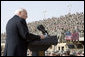 """Vice President Dick Cheney delivers remarks Tuesday, March 18, 2008 to U.S. troops during a rally at Balad Air Base, Iraq. """"During this deployment, ladies and gentlemen, you've seen incredible progress on the ground in Iraq -- not just as witnesses, but as participants,"""" said the Vice President, adding, """"The President and I, and your fellow citizens, want nothing more than have you and all of your comrades return home safely at the end of this tour of duty. We're going to do everything we can to make that happen."""" White House photo by David Bohrer"""