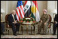 """Vice President Dick Cheney meets with Kurdish Regional Government President Massoud Barzani Tuesday, March 18, 2008 in the northern Iraqi city of Irbil. During the press availability following the meeting, the KRG president voiced his appreciation of the sacrifices given by Americans to liberate the Iraqi people and said, """"We will be with you in one trench, and without any hesitation or reservation, to fight terrorism and also to succeed in our efforts in the democratic process and also in building a free and prosperous Iraq."""" White House photo by David Bohrer"""