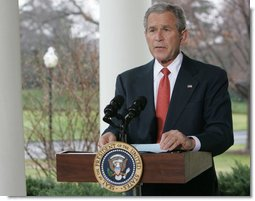 """President George W. Bush delivers a statement on the economy Friday, March 7, 2008, at the White House. Said the President, """"I know this is a difficult time for our economy, but we recognized the problem early, and provided the economy with a booster shot. We will begin to see the impact over the coming months. And in the long run, we can have confidence that so long as we pursue pro-growth, low-tax policies that put faith in the American people, our economy will prosper."""" White House photo by Chris Greenberg"""