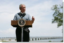 President George W. Bush offers his support in the ongoing rebuilding efforts along the Gulf Coast region, as he speaks Wednesday, Aug. 29, 2007, to the residents of Bay St. Louis, Miss., marking the second anniversary of Hurricane Katrina. White House photo by Chris Greenberg
