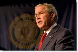"""President George W. Bush addresses the American Legion 89th Annual Convention Tuesday, Aug. 28, 2007, in Reno, Nev., where President Bush told Legion members, """"We seek a Middle East of secure democratic states that are at peace with one another, that are participating in the global markets, and that are partners in the fight against the extremists and radicals."""" White House photo by Chris Greenberg"""