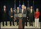 """President George W. Bush addresses the press after meeting with his counterterrorism team at the J. Edgar Hoover FBI Building in Washington, D.C., Friday, Aug. 3, 2007. """"The people on this team, assembled in this building see the world the way it is, not the way we hope it is,"""" said the President. """"And this is a dangerous world because there's an enemy that wants to strike the homeland again."""" White House photo by Joyce N. Boghosian"""