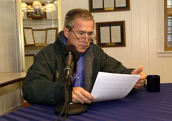 President George W. Bush delivers his weekly radio address to the nation from Camp David, Saturday, Sept. 15, 2001. White House photo by Eric Draper.