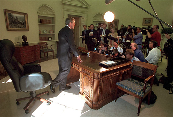 President addressing reporters in the Oval Office September 13. White House photo by Paul Morse.