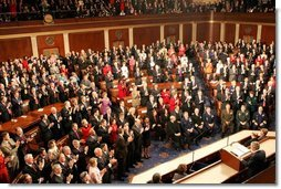 President George W. Bush receives a standing ovation during his State of the Union Address at the U.S. Capitol, Wednesday, Feb. 2, 2005.  White House photo by Susan Sterner