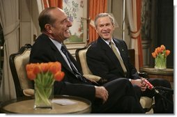 Attending the NATO Summit, President George W. Bush meets with French President Jacques Chirac in Brussels, Belgium, Monday, Feb. 21, 2005.  White House photo by Eric Draper