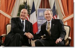 President George W. Bush meets with French President Jacques Chirac in Brussels, Belgium, Monday, Feb. 21, 2005.  White House photo by Eric Draper