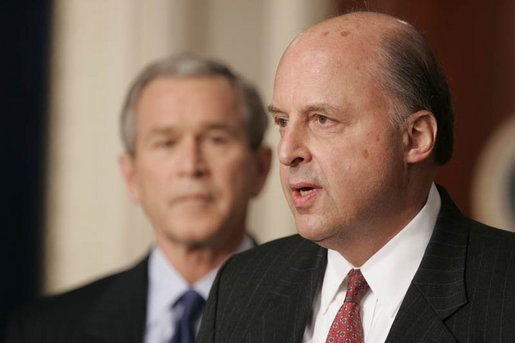 President George W. Bush listens to Ambassador John Negroponte, the Director of National Intelligence nominee, during a press conference held in the Dwight D. Eisenhower Executive Office Building in Washington, D.C., Thursday, Feb. 17, 2005. White House photo by Paul Morse