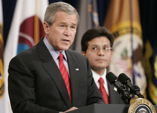 Attorney General Alberto Gonzales looks on as President Bush delivers remarks Monday, Feb. 14, 2005, during Mr. Gonzales's ceremonial swearing in. White House photo by Paul Morse.