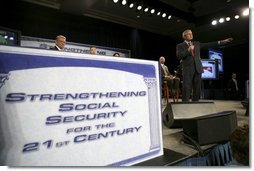 President George W. Bush leads the discussion during a Town Hall on Strengthening Social Security at the Tampa Convention Center in Tampa, Florida, Friday, Feb. 4, 2005.  White House photo by Eric Draper