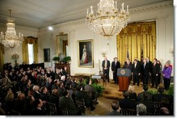 President George W. Bush discusses the Class Action Fairness Act of 2004 during a ceremony in the East Room before signing the act into law, Friday, Feb. 18, 2005.  White House photo by Eric Draper