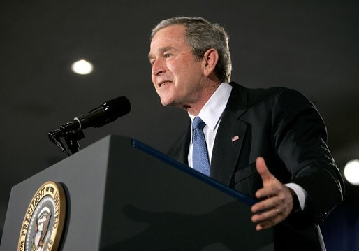 """President George W. Bush addresses the Detroit Economic Club in Detroit Tuesday, Feb. 8, 2005. """"We're moving forward with an ambitious agenda to ensure that our economy remains the freest, the most flexible, and the most prosperous in the world,"""" said the President. White House photo by Eric Draper"""