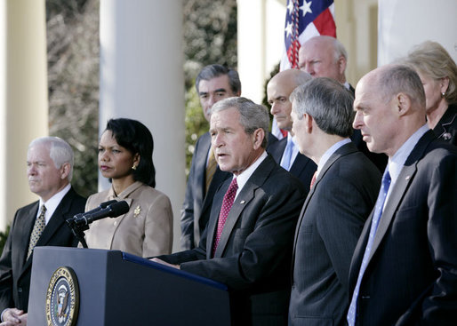 President George W. Bush addresses reporters as he stands with members of his Cabinet in the Rose Garden at the White House, Wednesday, Jan. 3, 2007, following the first Cabinet meeting of 2007. White House photo by Eric Draper