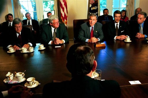President George W. Bush discusses the progress of Medicare modernization legislation with members of Congress in the Cabinet Room Thursday, Sept. 25, 2003. Pictured sitting next to the President are, from left: Rep. Bill Thomas, R-Calif.; Speaker Dennis Hastert, R-Ill.; Sen. Bill Frist, R-Tenn.; and Sen. Charles Grassley, R-Iowa. White House photo by Tina Hager