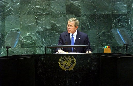 "President George W. Bush addresses the United Nations General Assembly in New York City Tuesday, Sept. 23, 2003. ""America is working with friends and allies on a new Security Council resolution, which will expand the U.N.'s role in Iraq,"" said the President in his remarks. White House photo by Tina Hager"