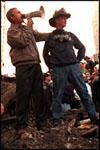 Photo of President Bush and megaphone at Ground Zero.