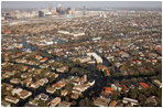 An aerial view shows the flood-ravaged areas of New Orleans, Louisiana Thursday, September 8, 2005. The damage was created by Hurricane Katrina, which hit both Louisiana and Mississippi on August 29th.