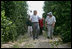 President Bush walks with Pat McKenna through a hurricane-battered orange grove in Lake Wales, Fla., Sept. 29, 2004. Located in the heart of Florida's citrus country, almost half of the McKenna brothers' orange grove was destroyed by the hurricanes.