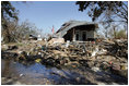 A house located in a Gulfport, Mississippi neighborhood was destroyed by the effects of Hurricane Katrina in the flood ravaged areas Thursday, September 8, 2005. The hurricane hit both Louisiana and Mississippi ten days prior, Monday, August 29th.