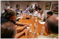 Vice President Dick Cheney meets with local and elected officials, Thursday, Sept. 8, 2005 in Gulfport Miss., while on a tour of the Gulf Coast areas devastated by Hurricane Katrina.