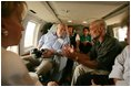 Vice President Dick Cheney tours the flood ravaged areas of Mississippi and Louisiana, Thursday, Sept. 8, 2005, to survey damage and view relief efforts in the wake of Hurricane Katrina. Vice President Cheney and Mrs. Cheney took an aerial tour of the Gulf coast aboard Marine Two with Homeland Security Secretary Michael Chertoff and U.S. Attorney General Alberto Gonzalez.
