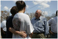 Vice President Dick Cheney talks with residents of a Gulfport, Mississippi neighborhood Thursday, September 8, 2005. The neighborhood was damaged by Hurricane Katrina, which hit both Louisiana and Mississippi on August 29th.