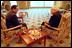 Vice President Dick Cheney talks privately with Egyptian President Hosni Mubarak in Sharm El-Sheikh, Egypt, March 13, 2002.