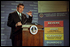 """Director of Homeland Security Tom Ridge presents the Homeland Security Advisory System to the media at Constitution Hall in Washington, D.C, March 12. """"The advisory system is based on five threat conditions or five different alerts: low, guarded, elevated, high and severe,"""" said Director Ridge. """". . .it empowers government and citizens to take actions to address the threat."""""""