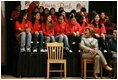 Laura Bush talks with middle school students on stage prior to delivering remarks at Sun Valley Middle School in Sun Valley, Calif., April 27, 2005.