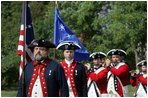 A fief and drum corps band plays during a Constitution Day 2005 celebration at George Washington's Mount Vernon Estate Friday, September 16, 2005. Lynne Cheney hosted a group of fourth graders from local Fairfax County public schools during the event which celebrates the anniversary of the signing of the U.S. Constitution 218 years ago.