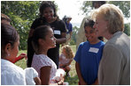 Lynne Cheney talks with a group of fourth graders from local Fairfax County public schools during a Constitution Day 2005 celebration at George Washington's Mount Vernon Estate Friday, September 16, 2005.