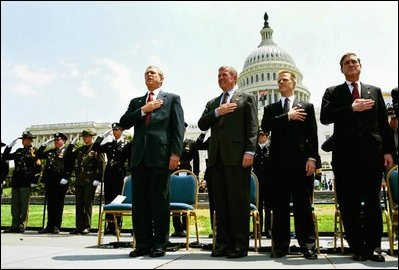 "President George W. Bush attends the Annual Peace Officers' Memorial Service at the U.S. Capitol in Washington, D.C., Saturday, May 15, 2004. ""Every year on this day, we pause to remember the sacrifice and faithful services of officers lost in the line of duty throughout our nation's history,"" said the President."