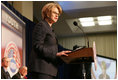 U.S. Secretary of Education Margaret Spellings addresses the audience, Thursday, Oct. 27, 2005 at Howard University in Washington,at the White House Conference on Helping America's Youth.