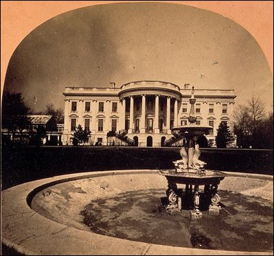 The first White House fountain, installed on the South Lawn in 1865, is shown in this detail from a stereophotograph, c.1866.