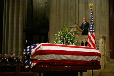 President George W. Bush delivers eulogy at the funeral service for former President Ronald Reagan at the National Cathedral in Washington, DC on June 11, 2004.