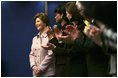 Laura Bush is applauded during a Feb. 21, 2005 event at the Sheraton Brussels Hotel and Towers.