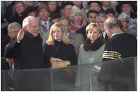 Dick Cheney takes the oath of office, administered by U.S. Supreme Court Chief Justice William Rehnquist, to become Vice President of the United States, January 20, 2001.
