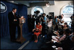 President Reagan announces the Campaign against Drug Abuse and answers questions in the White House Press Briefing Room August 4, 1986.